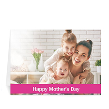 Personalized Mothers Day Photo Greeting Cards, 5X7 Folded Pink