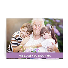 Personalized Mothers Day Photo Greeting Cards, 5X7 Folded Classic Purple