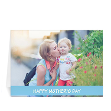 Personalized Mothers Day Photo Greeting Cards, 5X7 Folded Baby Blue