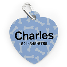 Placa de perro o gato con forma de corazón con impresión personalizada de patrón de hueso azul