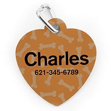 Placa de perro o gato con forma de corazón e impresión personalizada con estampado de huesos naranja