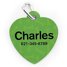 Placa de perro o gato con forma de corazón con patrón de huesos verde impreso personalizado