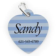 Placa de perro o gato con forma de corazón con raya azul impresa personalizada