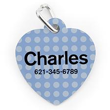 Placa de perro o gato con forma de corazón con lunares azules impresos personalizados
