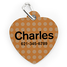 Placa de perro o gato con forma de corazón e impresión personalizada con lunares naranja