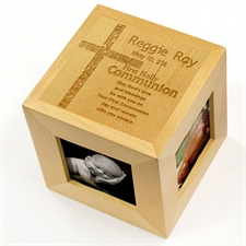 Cubo de fotos de madera de primera comunión grabado
