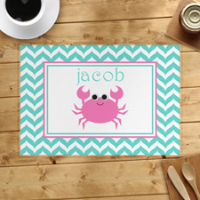 Personalized rosado Crab Placemats symbols