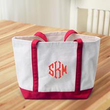 Monograma personalizado rojo Canvas Tote Bag (Medium)