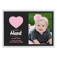 Real Glitter Love Personalized Photo Valentine Card, 5X7 Flat