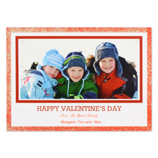 Real Glitter Red Personalized Photo Valentine Card, 5X7 Flat