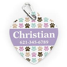 Placa de perro o gato en forma de corazón con pata colorida impresa personalizada