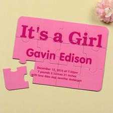 Rompecabezas  personalizado como invitación de anuncio del nacimiento que Es una niña!