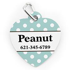 Placa de perro o gato con forma de corazón con impresión personalizada de puntos azul claro bebé