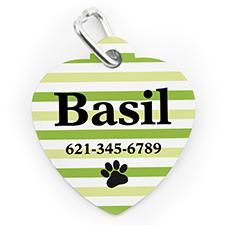 Placa de perro o gato con forma de corazón e  impresión personalizada a rayas lima y huella de pata