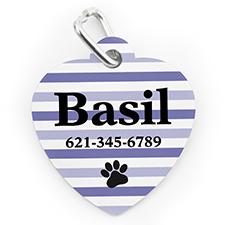 Placa de perro o gato con forma de corazón e impresión personalizada huella de pata a rayas púrpura