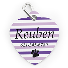 Placa de perro o gato con forma de corazón e impresión personalizada a rayas lavanda y huella de pata