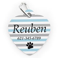 Placa de perro o gato con forma de corazón con impresión personalizada de pata a rayas acuáticas