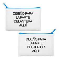 Bolso cosmético grande con cremallera azul con impresión personalizada a todo color 15.2x22.8.. (2 lados, misma imagen)