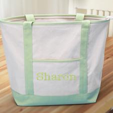 Bolsa de lona grane bordada con el nombre, color Lime Green