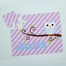Rompecabezas personalizado para niños con motivo de lechuza y de color lila