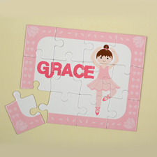 Dance Girl Brown Hair Personalized Kids Puzzle