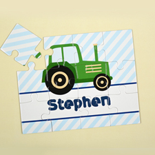 Green Truck Personalized Kids Puzzle