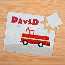 Fire Engine Personalized Kids Puzzle