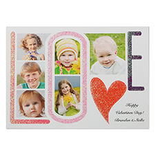 LOVE Glitter Custom Photo Valentine's Day Card