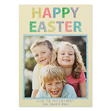 Glitter Easter Personalized Photo Card