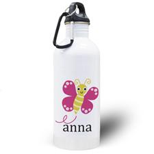 Botella de agua personalizada con foto de la mariposa
