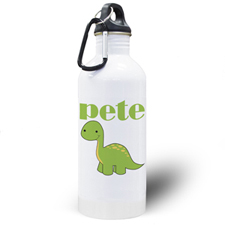Botella de agua personalizada con foto de un dinosaurio