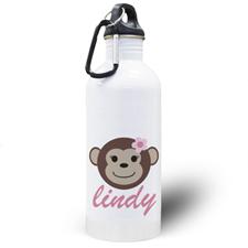 Botella de agua personalizada con del chica mono