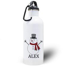 Botella de agua personalizada con foto del muñeco de nieve