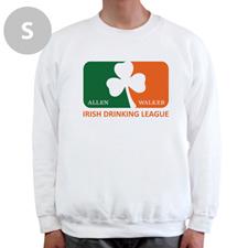 Diseña tu propia liga de bebida irlandesa, sudadera blanca