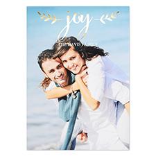 Create Your Own Script Joy Personalized Photo Foil Card Gold