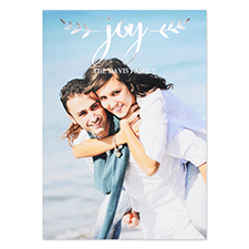 Create Your Own Script Joy Personalized Photo Foil Card Silver