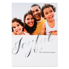 Create Your Own Joyful Personalized Photo Foil Card Silver