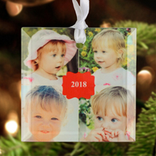 2017 Personalized Photo Glass Ornament Square 3