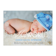 Create Your Own Hello World Foil Silver Personalized Photo Birth Announcement, 5X7 Card Invites