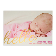 Create Your Own Say Hello Foil Gold Personalized Photo Birth Announcement, 5X7 Card Invites