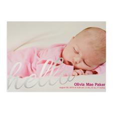 Create Your Own Say Hello Foil Silver Personalized Photo Birth Announcement, 5X7 Card Invites