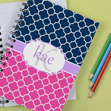 Personalized Pink Navy Clover Notebook