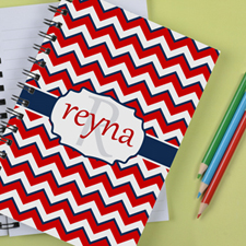 Personalized Red White Navy Chevron Notebook