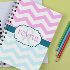 Personalized Baby Blue Pink Chevron Notebook