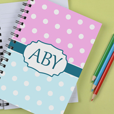 Personalized Aqua Pink Polka Dot Notebook
