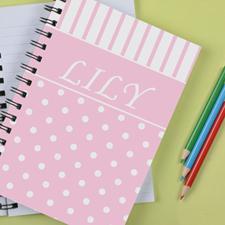 Personalized Pink Dot Stripe Notebook