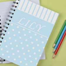 Personalized Sky Dot Stripe Notebook