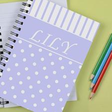 Personalized Lavender Dot Stripe Notebook