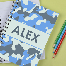 Personalized Camo Blue Notebook