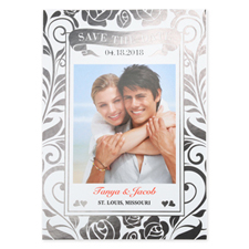 Floral Foil Silver Personalized Wedding Save The Date Card